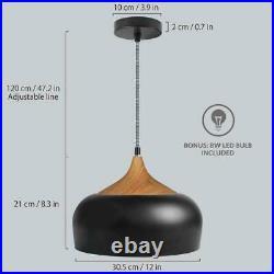 Pendant Light Modern Lighting with LED Bulb, Wood Pattern Ceiling Hanging Lamp