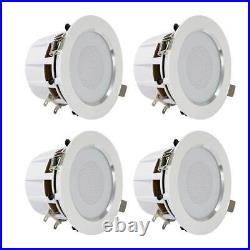Pyle Pro 3.5 In Bluetooth Ceiling Wall Speaker Kit System with LED Lights (4 Pack)