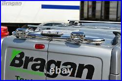 Rear Roof Beacon LIght Bar + LEDs For Ford Transit MK7 2007 2014 Stainless Bar