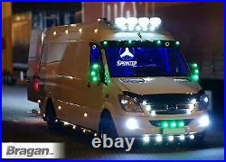 Roof Bar + LEDs For Mercedes Sprinter 2006 2014 Steel Top Spot Lamp Light Bar