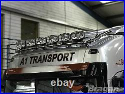 Roof Spot Light Bar + LEDs For Volvo FH4 13+ Globetrotter Standard Cab Stainless