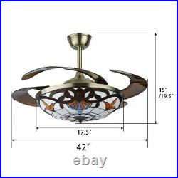 Tiffany 42 LED Remote Ceiling Fan Light Retractable Blades Lamp Reverse