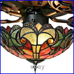 Tiffany Style Stained Glass Ceiling Fan Beautiful Spice Colors 52 Pull Chain