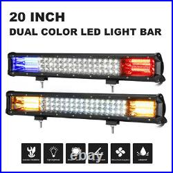 Tri-Row 20inch 288W LED Work Light Bar Combo Dual Color Fit Boat ATV 4WD Tractor