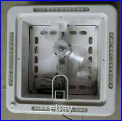 White 12V Shower Roof Hatch LED Lights Vent Exhaust Fan Caravan RV Motor home