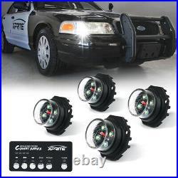Xprite White Covert 4 Series LED Strobe Lights Hide-A-Way Car Emergency Beacon