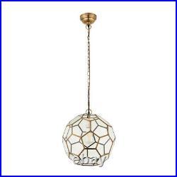 Zola Ceiling Light Pendant Antique Brass + Hexagon Glass Panels Dia 37cm